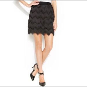 MAX STUDIO TIERED FRINGE SKIRT S